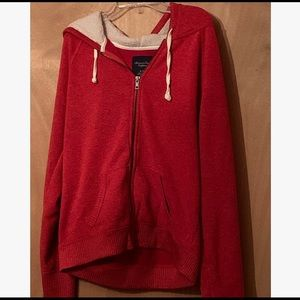 American Eagle Red Zipped Hoodie